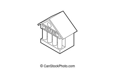Museum building icon animation best outline object on white background
