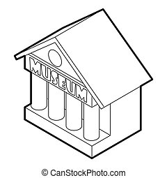 Museum building icon, outline style