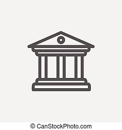 Museum building icon thin line for web and mobile, modern minimalistic flat design. Vector dark grey icon on light grey background.
