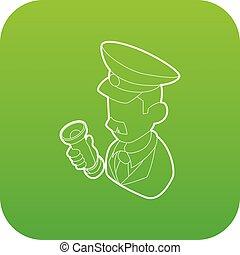 museum, conducteur, vector, groene, veiligheid, pictogram
