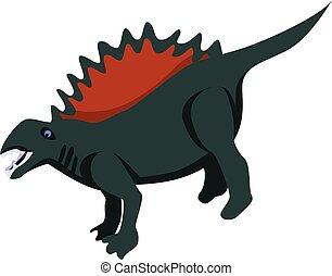Museum dinosaur icon, isometric style