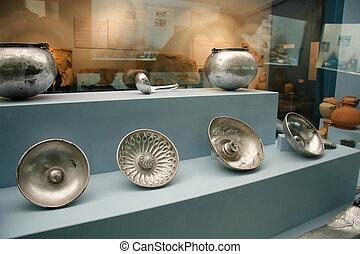 Exhibition hall with museum exhibits display, Antalya, Turkey