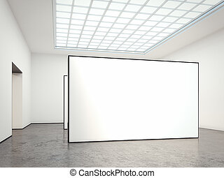 Museum gallery with blank walls. 3d rendering