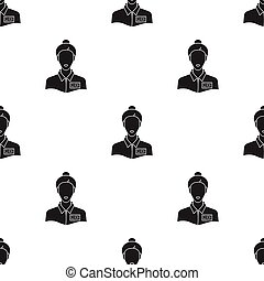 Museum guide icon in black style isolated on white background. Museum pattern stock vector illustration.