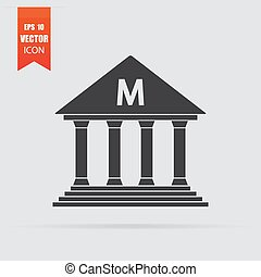 Museum icon in flat style isolated on grey background.