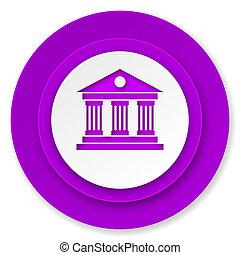 museum icon, violet button