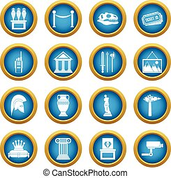 Museum icons blue circle set