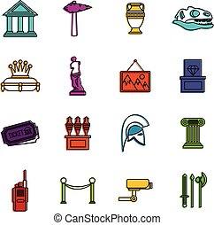 Museum icons doodle set