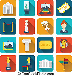 Museum icons flat set of sign canvas barrier isolated vector...