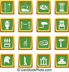 Museum icons set green