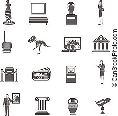 Museum Icons Set - Museum black icons set with fine art...