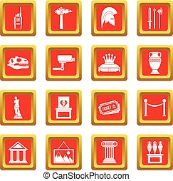 Museum icons set red - Museum icons set in red color...