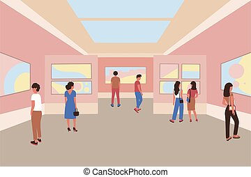 Museum - Illustration of people in the museum.