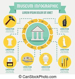 Museum infographic concept, flat style