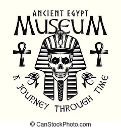 Museum of ancient egypt emblem with pharaoh skull
