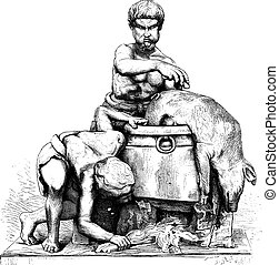 Museum of Naples (SCUD). Two men who peel a dead boar,...