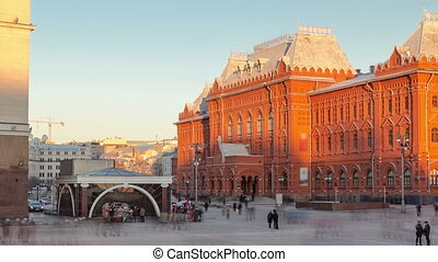 Museum of the Patriotic War of 1812at the Red Square of Russia in Moscow timelapse hyperlapse