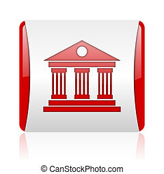 museum red and white square web glossy icon