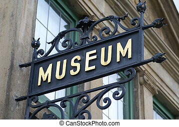 Museum sign - Vintage wrought iron museum sign with gilded...