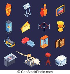 Museum Specimen Icon Set - Museum isometric icons collection...