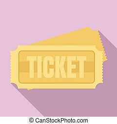 Museum ticket icon, flat style