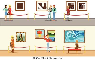 Museum Visitors Taking Museum Tour With And Without Guide...