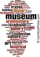 museum, woord, wolk