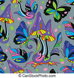 Mushroom and butterfly seamless pattern