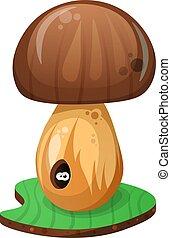 Mushroom and cartoon worm illustration.