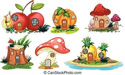 Mushroom and fruit houses