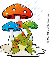Mushroom and toad - Illustration of mushroom with a toad