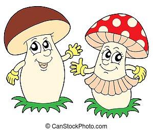 Mushroom and toadstool - isolated illustration.