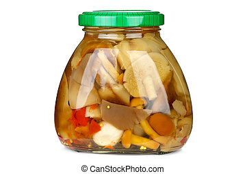 Mushroom assortment conserved in glass jar