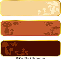 Mushroom banners with gold rim