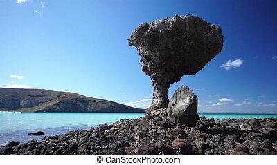 Mushroom Beach Rock - Interesting rock on the rocky beach of...