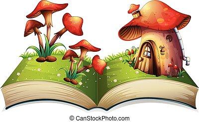 Mushroom book - Illustration of a popup book with mushroom...