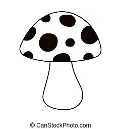mushroom cartoon nature botanical isolated icon line style