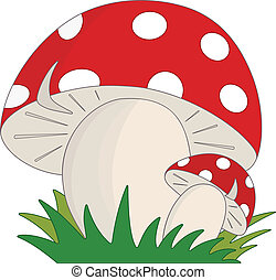 Mushroom - Cartoon style mushrooms in the grass