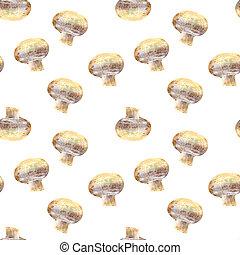 Mushroom champignon on white background. Seamless watercolor pattern