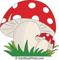 Mushroom - Cartoon style mushrooms in the grass