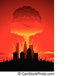 Mushroom cloud and city - Nuclear explosion over a large...