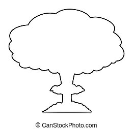 mushroom cloud, nuclear explosion silhouette,  vector symbol icon design.