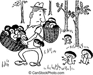 Man with two baskets full of mushrooms in the wood