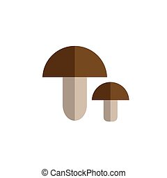 mushroom color icon flat vector vegetable on white...