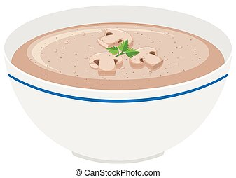 Mushroom cream soup in bowl