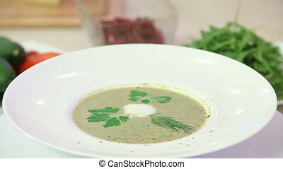 Mushroom cream soup in f bowl