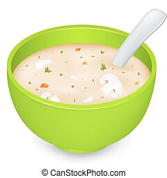 Mushroom Cream Soup In Green Plate, Isolated On White Background, Vector Illustration