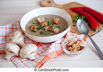 Mushroom cream soup on a table, food