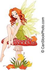 Mushroom Fairy - Illustration of cute fairy sits on fly...