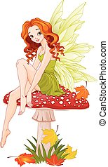 Mushroom Fairy - Illustration of cute fairy sits on fly...